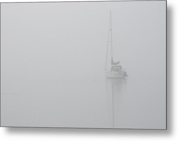 Sailboat In Fog Metal Print