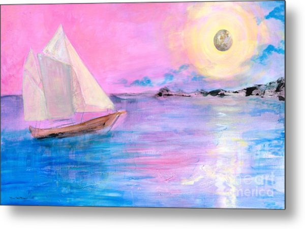 Sailboat In Pink Moonlight  Metal Print