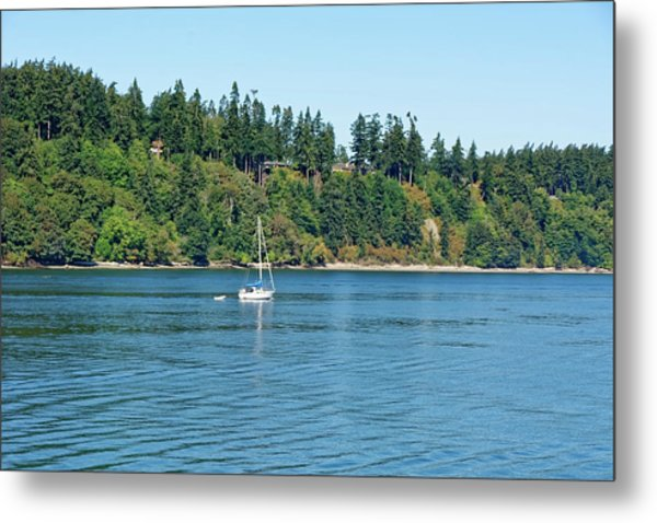 Sailboat Near San Juan Islands Metal Print
