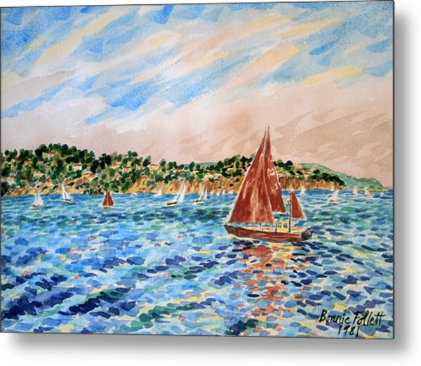 Sailboat On The Bay Metal Print