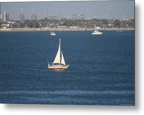 Sailboat On The Pacific In Long Beach Metal Print