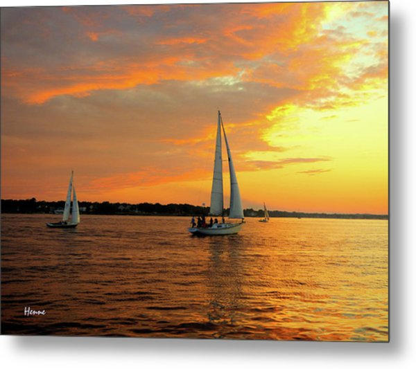 Metal Print featuring the photograph Sailboat Parade by Robert Henne