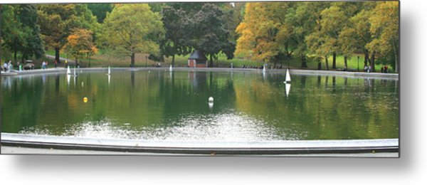 Sailboat Pond Panorama Metal Print