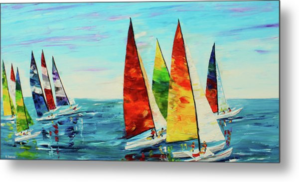 Metal Print featuring the painting Sailboat Race by Kevin Brown