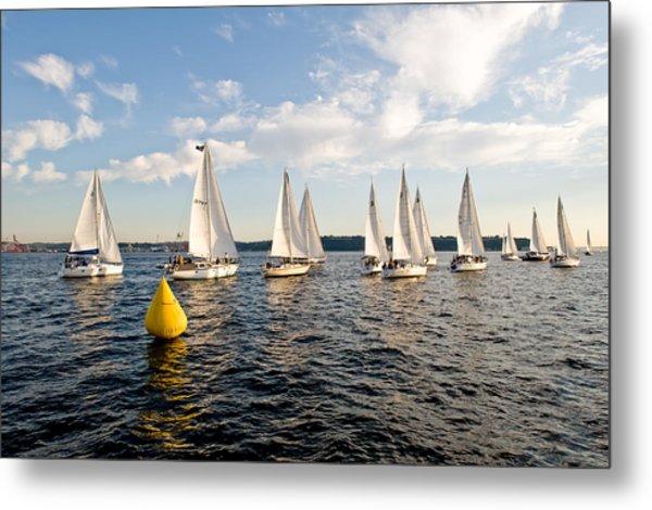 Sailboat Racers Metal Print by Tom Dowd