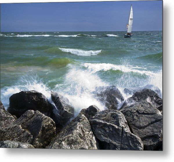 Sailboat Sailing Off The Shore At Ottawa Beach State Park Metal Print