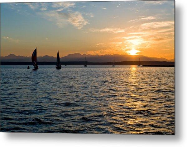Sailboat Sillohette Sunset Metal Print by Tom Dowd