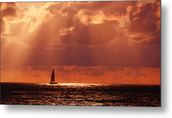 Sailboat Sun Rays Metal Print