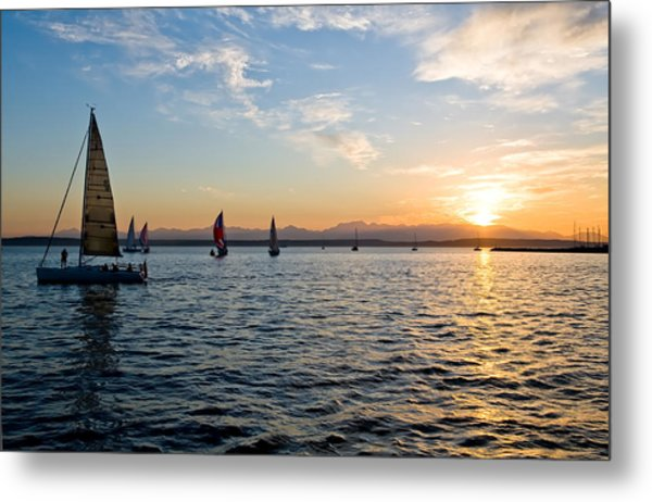 Sailboat Sunset Metal Print by Tom Dowd