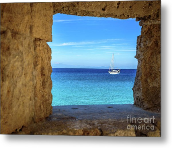 Sailboat Through The Old Stone Walls Of Rhodes, Greece Metal Print