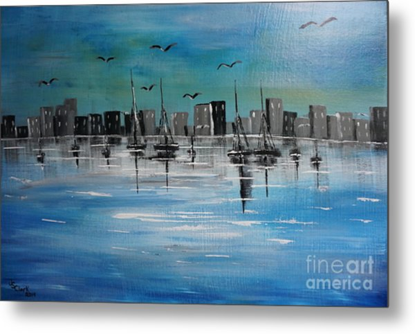 Sailboats And Cityscape Metal Print