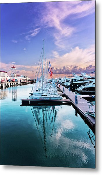 sailboats and yachts in the roads of the main sea channel of the Sochi seaport Metal Print