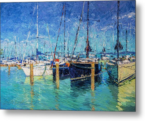 Sailboats At Balatonfured Metal Print