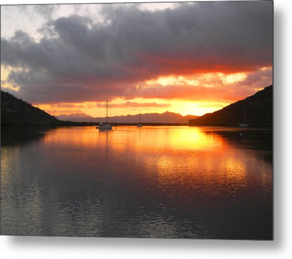 Sailboats At Sunrise In Puerto Escondido Metal Print