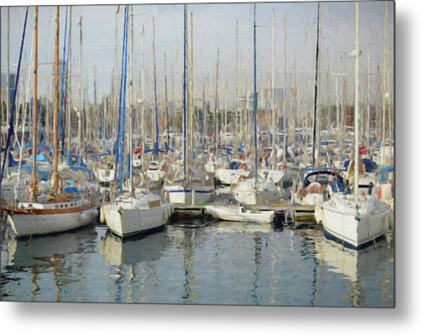 Sailboats At The Dock - Painting Metal Print