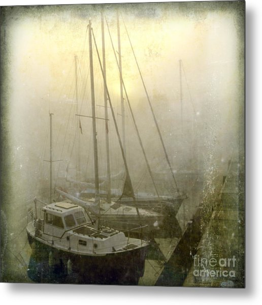 Sailboats In Honfleur. Normandy. France Metal Print