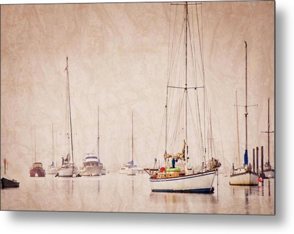 Sailboats In Morro Bay Fog Metal Print