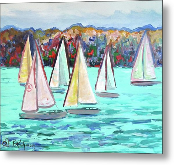 Sailboats In Spain I Metal Print