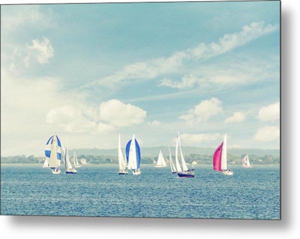 Sailboats On The Raritan Bay Metal Print by Erin Cadigan