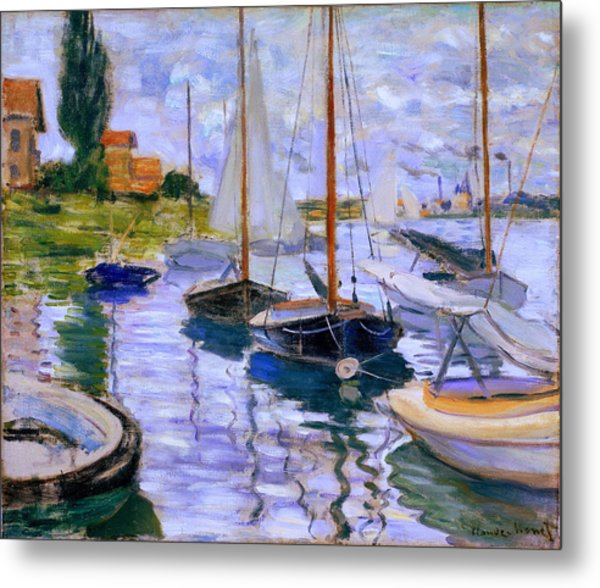 Sailboats On The Seine At Petit Gennevilliers Claude Monet 1874 Metal Print