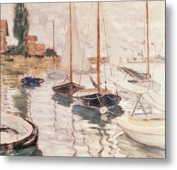 Sailboats On The Seine Metal Print