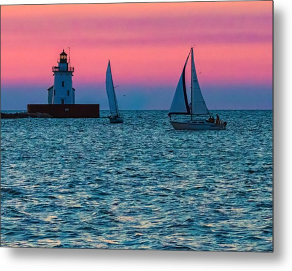 Sailing At The Cleveland Lighthouse  Metal Print