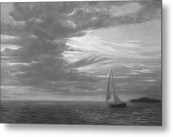 Sailing Away - Black And White Metal Print