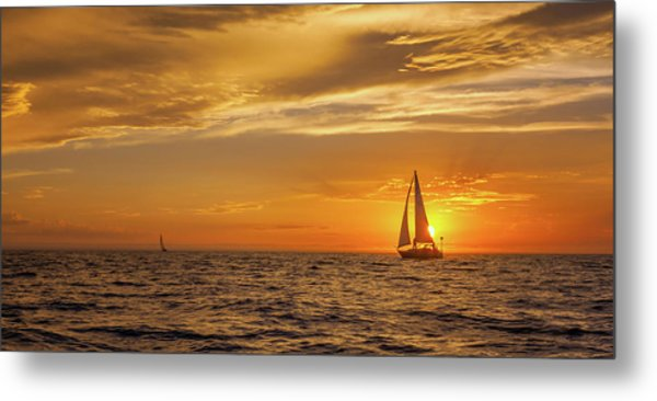 Sailing Away Two Metal Print by Steve Spiliotopoulos