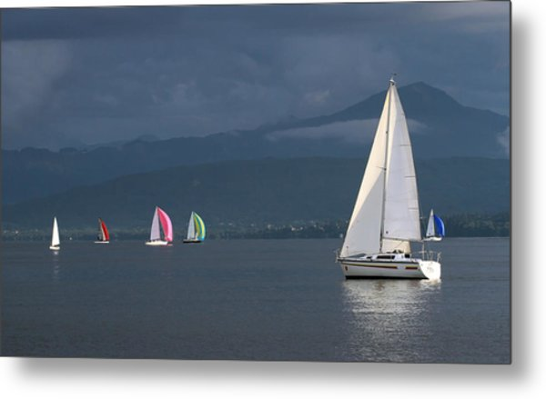 Sailing Boats By Stormy Weather, Geneva Lake, Switzerland Metal Print