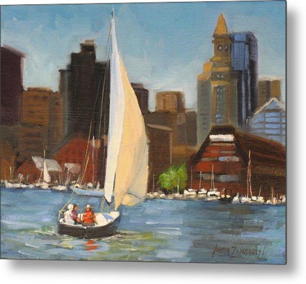 Sailing Boston Harbor Metal Print