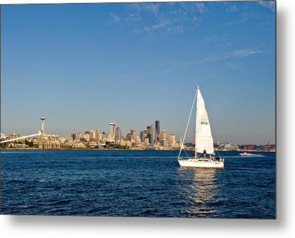 Sailing By Seattle Metal Print by Tom Dowd