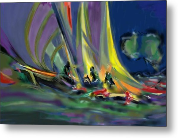 Metal Print featuring the digital art Sailing by Darren Cannell