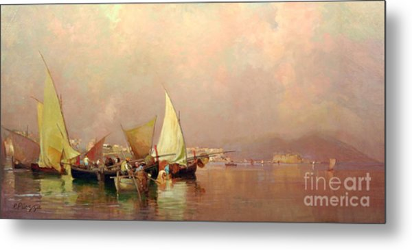 Sailing Fishermen Boats In Naples Metal Print