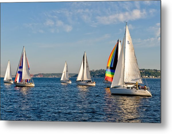 Sailing Group Seattle Metal Print by Tom Dowd