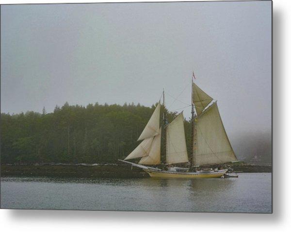 Sailing In The Mist Metal Print