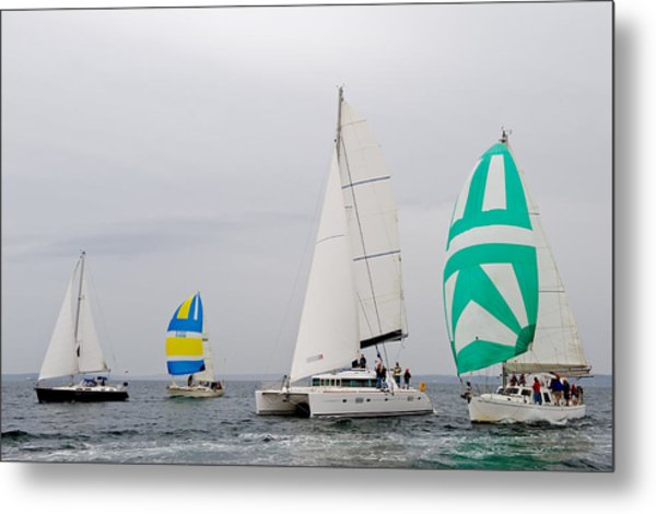 Sailing In The Mist Metal Print by Tom Dowd