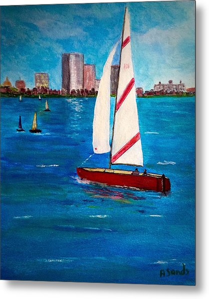 Sailing On The Charles Metal Print