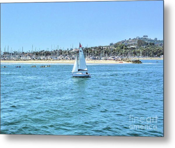 Sailing Out Of The Harbor Metal Print