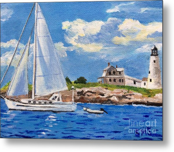 Sailing Past Wood Island Lighthouse Metal Print
