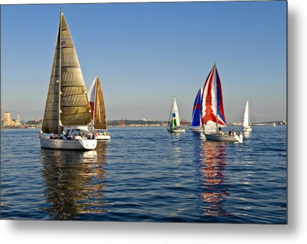 Sailing Seattle Metal Print by Tom Dowd