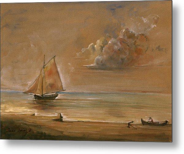 Sailing Ship At Sunset Metal Print