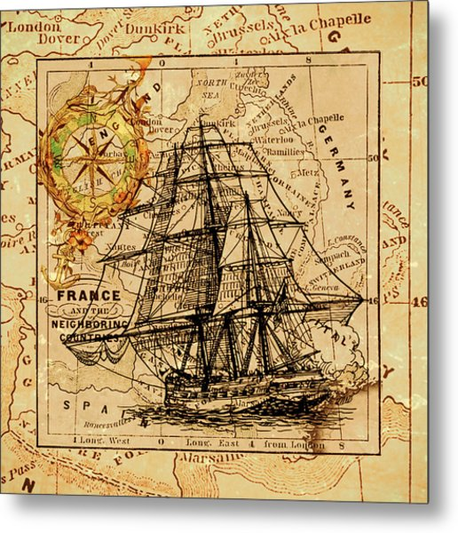 Sailing Ship Map Metal Print