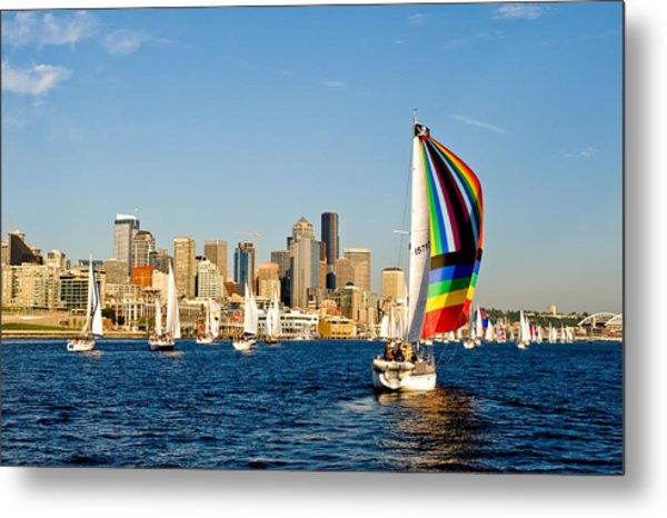 Sailing Some Color To Seattle Metal Print by Tom Dowd