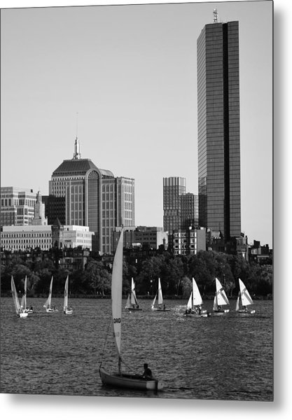 Sailing The Charles River Boston Ma Black And White Metal Print