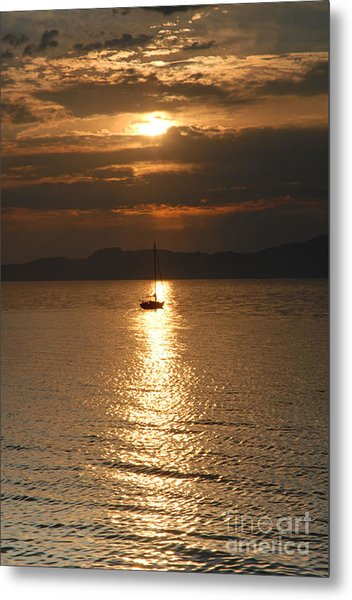 Sailing The Great Salt Lake At Sunset Metal Print by Dennis Hammer