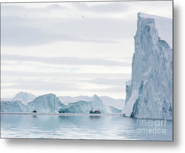 Sailing Through  The Icefjord Metal Print