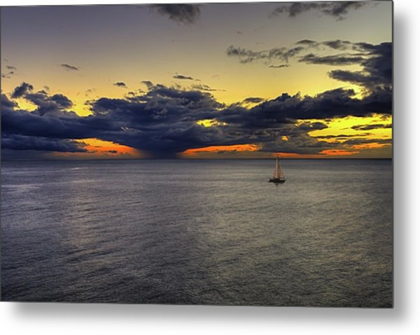 Sailing To Sunset Metal Print