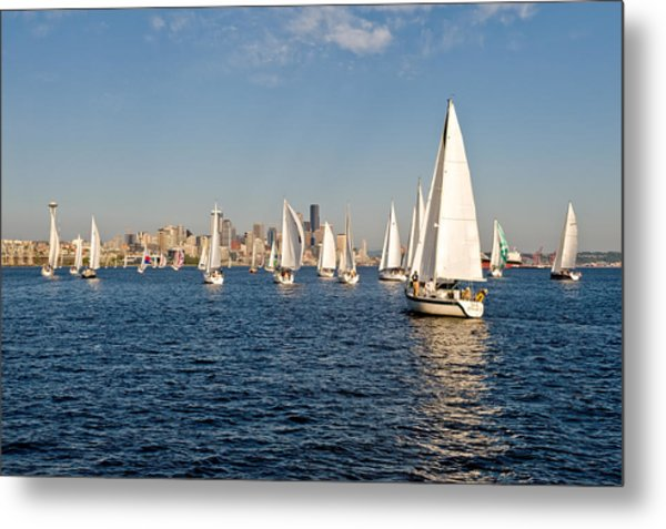 Sailing To The Space Needle Metal Print by Tom Dowd