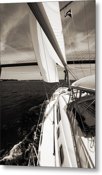 Sailing Under The Arthur Ravenel Jr. Bridge In Charleston Sc Metal Print
