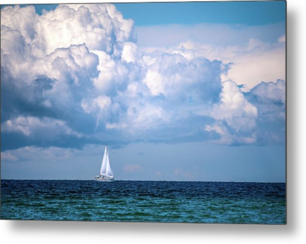 Sailing Under The Clouds Metal Print